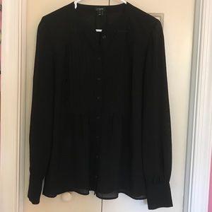 J. Crew Black Tuxedo Blouse Size 6 NWOT
